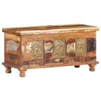 vidaXL újrahasznosított fa tárolóláda Buddha dísszel 90 x 35 x 45 cm