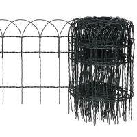 vidaXL kerti porszórt bevonatú vas szegélyező kerítés 25 x 0,4 m