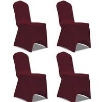 vidaXL 4 db nyújtható szék huzat bordó