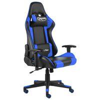 vidaXL kék PVC forgó gamer szék