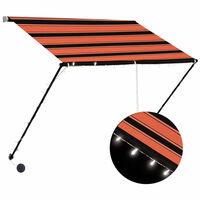 vidaXL narancssárga és barna feltekerhető napellenző LED-del 200 x 150 cm