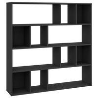 vidaXL fekete forgácslap térelválasztó/könyvszekrény 110 x 24 x 110 cm