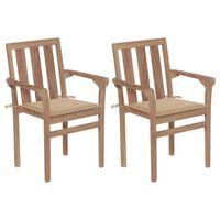 vidaXL 2 db tömör tíkfa kerti szék bézs párnákkal