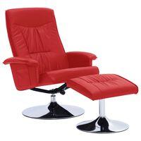 vidaXL piros állítható műbőr fotel lábzsámollyal