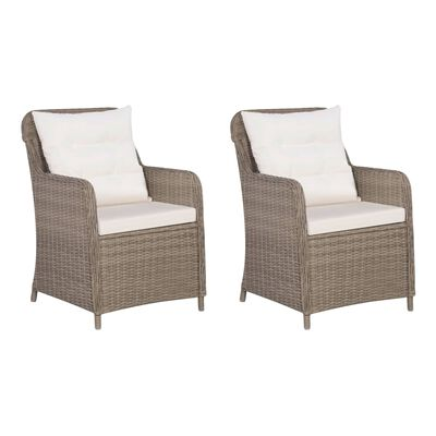 vidaXL 3 darabos barna polyrattan bisztrószett szék- és hátpárnákkal