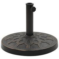 vidaXL kerek bronzszínű műgyanta napernyőtalp 13 kg