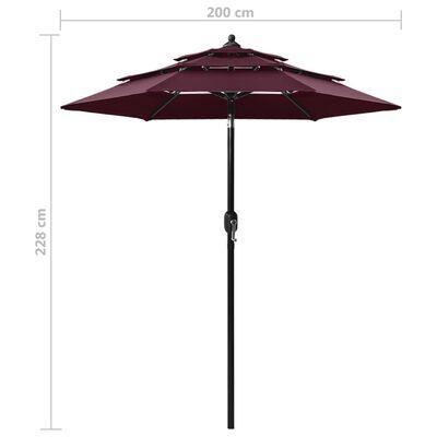 vidaXL 3 szintes bordó napernyő alumíniumrúddal 2 m