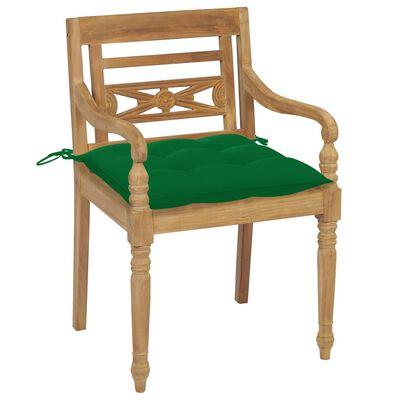 vidaXL 2 db tömör tíkfa Batavia szék zöld párnával