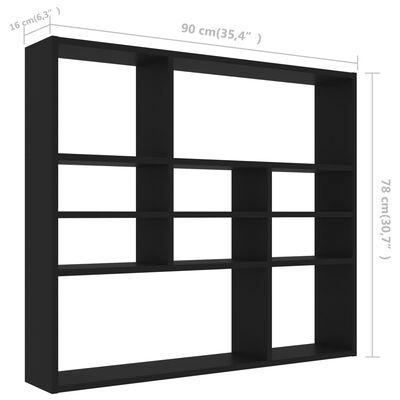 vidaXL fekete forgácslap fali polc 90 x 16 x 78 cm