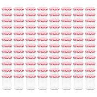 vidaXL 96 db 400 ml-es befőttesüveg piros-fehér tetővel