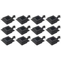vidaXL 12 db fekete négyzet alakú kültéri napelemes LED lámpa 12 cm