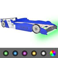 vidaXL kék versenyautó alakú LED-es gyerekágy 90 x 200 cm