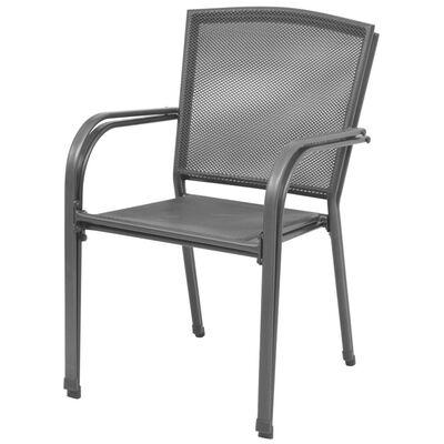 vidaXL 2 db szürke rakásolható acél kerti szék