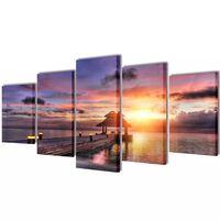 Vászon falikép szett tengerpart pavilonnal 100 x 50 cm