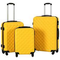 vidaXL 3 db sárga keményfalú ABS gurulós bőrönd