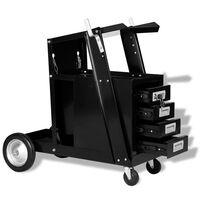 vidaXL fekete hegesztőkocsi 4 fiókkal