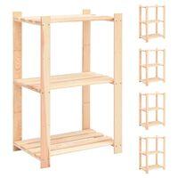 vidaXL 5 db 3-szintes tömör fenyőfa tárolópolc 150 kg 60 x 38 x 90 cm