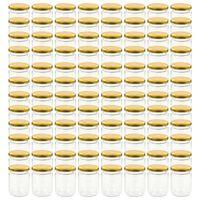 vidaXL 96 db 230 ml-es befőttesüveg aranyszínű tetővel