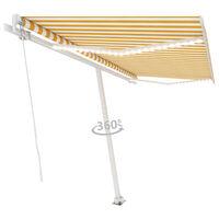vidaXL sárga és fehér kézzel kihúzható LED-es napellenző 400 x 300 cm