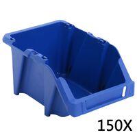 vidaXL 150 db kék színű rakásolható tárolódoboz 125 x 195 x 90 mm