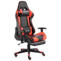 vidaXL piros PVC forgó gamer szék lábtartóval