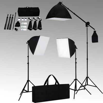 vidaXL stúdiófelszerelés softbox lámpákkal és hátterekkel,