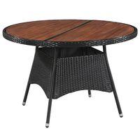 vidaXL polyrattan és tömör akácfa kerti asztal 115 x 74 cm