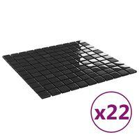 vidaXL 22 db fényes fekete öntapadó üveg mozaikcsempe 30 x 30 cm