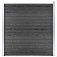 vidaXL fekete WPC kerítéspanel 180 x 186 cm