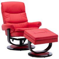 vidaXL piros műbőr és hajlított fa dönthető fotel