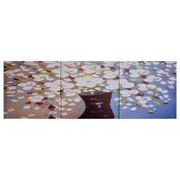 vidaXL többszínű vázás virágos nyomtatott vászon faliképszett 120x40cm