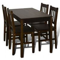 Fa Étkező Asztal 4 Székkel / étkező garnitúra Barna