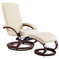 vidaXL krémszínű állítható háttámlás műbőr fotel lábzsámollyal