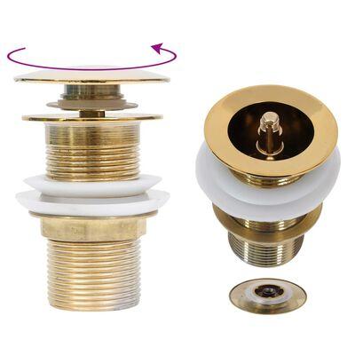 vidaXL aranyszínű nyomógombos leeresztő túlfolyó nélkül 6,4x6,4x9,1 cm