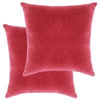vidaXL 2 db rózsaszín pamutbársony párna 45 x 45 cm