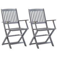 vidaXL 2 db összecsukható tömör akácfa kültéri szék