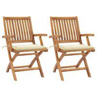 vidaXL 2 db tömör tíkfa kerti szék krémszínű párnával