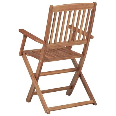 vidaXL 8 db összecsukható tömör akácfa kerti szék párnákkal