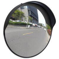 Fekete PC műanyag konvex kültéri közlekedési tükör 30 cm