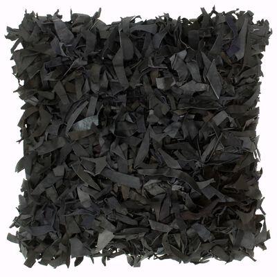 vidaXL fekete bőr és pamut bozontos párna 60 x 60 cm
