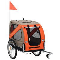 vidaXL narancssárga és barna kutyaszállító kerékpár-utánfutó