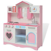 vidaXL fa játékkonyha 82 x 30 x 100 cm rózsaszín és fehér