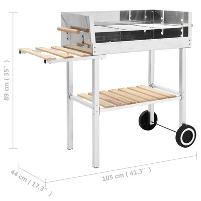 vidaXL XXL rozsdamentes acél kerekes faszenes grillsütő 2 polccal