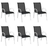vidaXL 6 db fekete rakásolható acél és textilén kerti szék