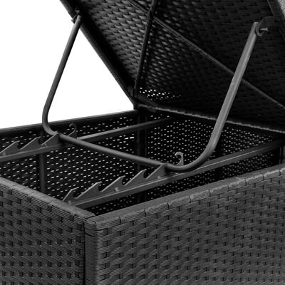 vidaXL fekete polyrattan napozóágy párnával