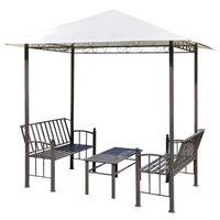 vidaXL kerti pavilon asztallal és padokkal 2,5 x 1,5 x 2,4 m