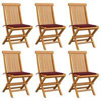 vidaXL 6 db tömör tíkfa kerti szék bordó párnával