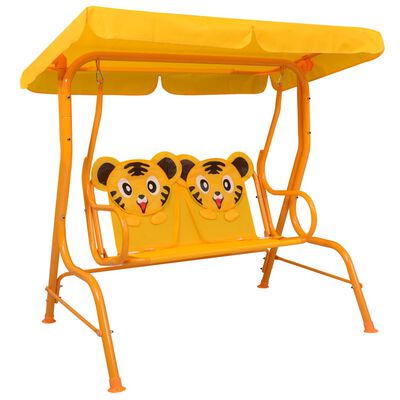 vidaXL sárga szövet gyermek hintapad 115 x 75 x 110 cm