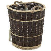 vidaXL természetes fűzfa tűzifa hátikosár fogantyúkkal 44,5x37x50 cm