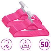 vidaXL 50 db rózsaszín csúszásmentes bársony ruhaakasztó